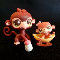 Littlest Pet Shop 2670 Monkey 2671 Baby and Mommy Set LPS Toy HASBRO