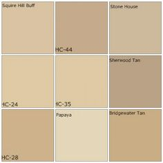 Beige / tan paint: Designers' favorite colors  All colors by Benjamin Moore:    Top row: Squire Hill Buff, Lenox Tan, Stone House    Middle row: Pittsfield Buff, Powell Buff, Sherwood Tan    Bottom row: Shelburne Buff, Papaya, Bridgewater Tan