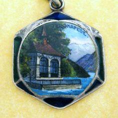 Vintage enamel souvenir silver charm