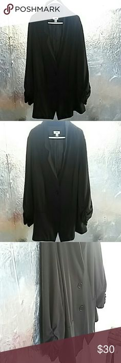 BUY 2 GET 1 FREE Cato Blazer Black 2 button front blazer 3/4 ruched sleeves.  Size 26/28 NWOT Cato Tops