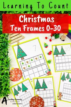 Looking for Christmas math printables for kids? then check these gorgeous math centers for learning to identify numbers and count 0-30. There's so many variations including with and without ten frames, digits and numbers as words. Your kids will love them this holiday season! Teaching Numbers, Numbers Kindergarten, Preschool Classroom, Classroom Activities, Number Recognition Activities, Fine Motor Activities For Kids, Teacher Freebies, Christmas Math, Fun Math Games
