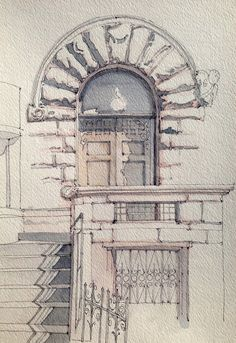 Chiklet is part of pencil-drawings - Rusticated stone entrance Ink and watercolor freehand sketch on location Watercolor Architecture, Architecture Drawings, Cool Drawings, Drawing Sketches, Drawing Ideas, Pencil Drawings, Urban Sketching, Art Sketchbook, Fashion Sketchbook