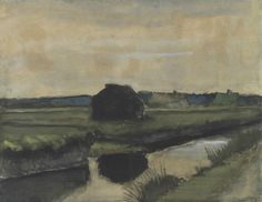 Vincent van Gogh, Landscape with a Stack of Peat and Farmhouses, 1883