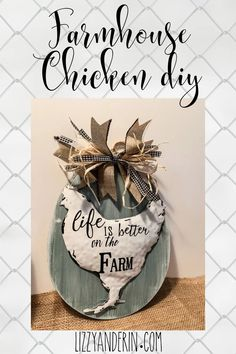 Farmhouse Chicken DIY – This project was so simple and it turned out super cute. Here is what I used to make this sign.  It will add a great touch to your farmhouse decor  Lizzy Dollar Tree Crafts, Dollar Tree Store, Craft Stick Crafts, Diy Crafts, Waverly Chalk Paint, Budget Crafts, Farm Yard, Decorating On A Budget, Farmhouse Decor