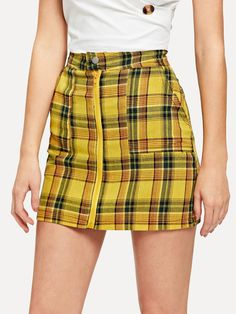 829303870 Preppy Pencil Plaid Sheath High Waist Yellow Mini Length Zip Front Checked  Skirt