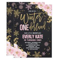 Winter ONEderland Birthday Invitation Pink Gold - gold gifts golden customize diy