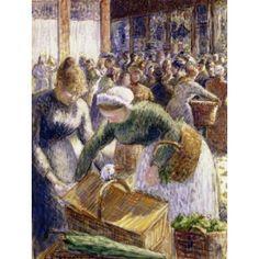 Market at Pontoise Paris Camille Pissarro (1830-1903 French) Canvas Art - Camille Pissarro (24 x 36)