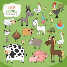 Set of hand-drawn farm animals by Microvector on @creativemarket