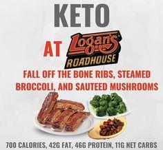 Keto at Logan's Steakhouse. Keto tips and tricks. Keto Fast Food, Keto Foods, Healthy Fast Food Options, Fast Healthy Meals, Healthy Eating, Healthy Food, Easy Keto Meal Plan, Keto Diet Plan, Low Carb Diet