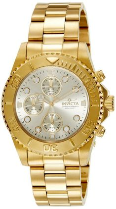 Invicta Unisex Pro Diver Quartz Watch with Chronograph Display and Stainless Steel Bracelet Stainless Steel Watch, Stainless Steel Bracelet, Cool Watches, Watches For Men, Ladies Watches, Casual Watches, Men's Watches, Luxury Watches, Accessories