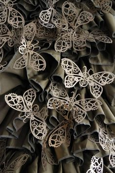 An example of how anything can be turned into Steampunk Jewelry, etc.  These are actually very thin cardboard painted gold and attached to a costume.