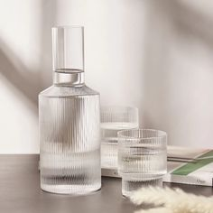 Buy the Ferm Living Ripple Carafe in Clear from leading mens fashion retailer END. - only Fast shipping on all latest Ferm Living products Modern Restaurant, Restaurant Interior Design, Office Accessories, Home Decor Accessories, Accessories Online, Carafe, Cuisines Design, Cafe Bar, Decoration