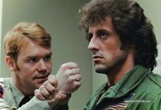 First Blood - Publicity still of David Caruso & Sylvester Stallone. The image measures 1190 * 815 pixels and was added on 13 March Sylvester Stallone Kids, Sylvester Stallone Daughters, David Caruso, Silvestre Stallone, Stallone Movies, Rocky Series, Military Field Jacket, Action Movie Stars, Demolition Man