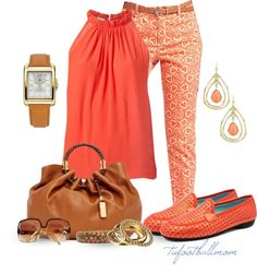 """Coral Loafers"" by tufootballmom on Polyvore"