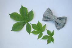 Embroidered bow tie Grey bowtie Bow tie in от accessories482