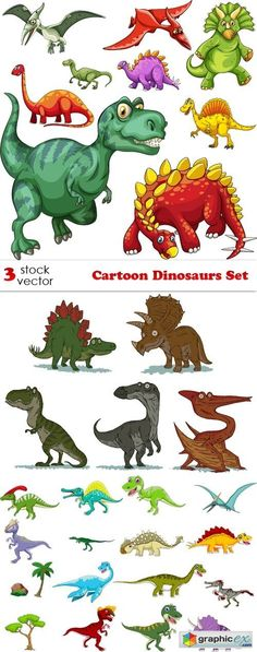 Cartoon Dinosaurs Set Animal Paintings, Animal Drawings, Art Drawings, 2nd Birthday Party Themes, Dinosaur Birthday Party, Dinosaur Crafts, Dinosaur Art, Drawing For Kids, Art For Kids