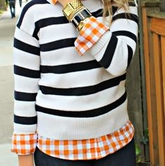 Black Stripes White With a Bright Checkered  Shirt
