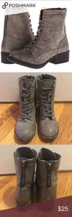 Madden Girl Mistley Combat Boots Madden Girl combat boots in stone! Blue zipper up back, worn look. Barely worn, in great condition, slight scuffing adds to look. Size 7! Madden Girl Shoes Combat & Moto Boots