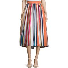 Alice + Olivia Nikola Striped High-Waist Midi Skirt ($465) ❤ liked on Polyvore featuring skirts, multi colors, high-waisted skirts, high-waisted midi skirts, stripe midi skirt, high waisted skirts and high waisted midi skirt