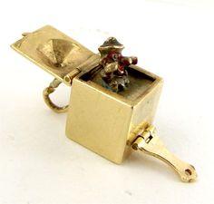 Vintage 9ct Gold JACK-IN-A-BOX Charm Georg Jensen London Stamp 1959