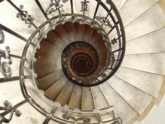 Looking down the spiral staircase of St Stephen's Basilica, Budapest