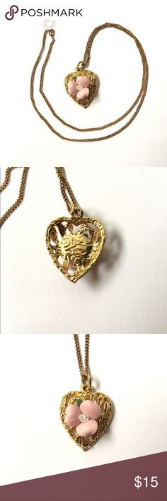 """Vintage Dainty Pink Rose Necklace Filigree Heart Vintage dainty porcelain rose and gold tone filigree heart pendant necklace; the pendant measures approx 3/4"""" tall and the chain measures approx 15-1/2"""" long; good condition, no flaws Vintage Jewelry Necklaces"""