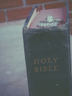 Bible. Engagement ring picture.