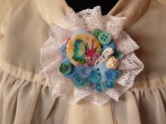 Blue Butterfly And Flowers Corsage Brooch by squirrelcrafts46, £12.00