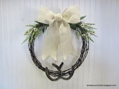Simply Country Life: Barb Wire and Horseshoe Wreath