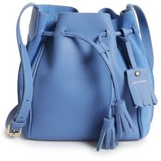 Women's Longchamp Penelope Fantasie Leather Bucket Bag ($775) ❤ liked on Polyvore featuring bags, handbags, shoulder bags, blue mist, blue leather purse, bucket bag, genuine leather purse, longchamp handbags and leather handbags