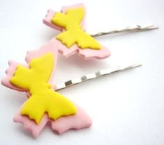 Butterfly shaped hair pins bobby pins colored by JustFingerPrint, $7.00