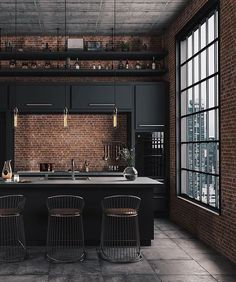 Masculine Kitchen Furniture Ideas That Catch An Eye Industrial Kitchen Design, Industrial House, Industrial Interiors, Modern Interior Design, Interior Design Living Room, Living Room Designs, Restaurant Interior Design, Vintage Industrial, Industrial Lighting