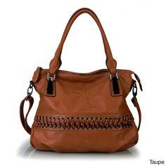Rimen & Co. Laced-Front Tote Handbag (Taupe), Women's, Size: Large, Black, Size L (leather)