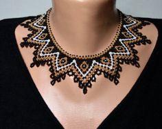 Collares de cuentas, collar de abalorios de semillas, collar de cuello, negro, oro, blanco