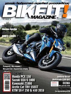 Το Bikeit E-Magazine είναι το πρώτο ολοκληρωμένο διαδραστικό περιοδικό μοτοσυκλέτας στην Ελλάδα. Νέα από όλο τον κόσμο, νέα αγοράς για τον αναβάτη και την μοτοσυκλέτα, ρεπορτάζ, ταξιδιωτικά και τεχνικά άρθρα, όλη η αγωνιστική κίνηση του μήνα που πέρασε, και φυσικά, δοκιμές και παρουσιάσεις μοτοσυκλετών, ATV, UTV και scooter αλλά και τα τελευταία νέα μοντέλα της αγοράς.  Στο ηλεκτρονικό περίπτερο του Issuu.com, ο αναγνώστης θα βρει πλέον και την ''έντυπη'' έκδοση του καθημερινού ηλεκτρονικού… Suzuki Cars, Suzuki Gsx, The 5th Of November, Ducati, Arctic, Honda, Bmw, Magazine Covers, Motorcycles