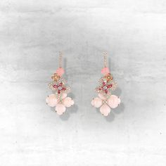 Hortensia earrings in pink gold, set with angel-skin and pink opal, pink tourmalines and diamonds.
