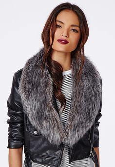 Rebel Long Faux Fur Collar Grey is on sale now for - 25 % !