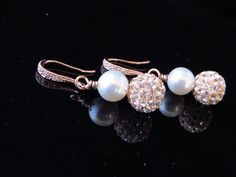 Swarovski Pearl Earrings Rose Gold Earrings by SnobishDesign, $32.00