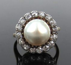 Antique Old Mine Cut Diamond & Mabe Pearl Silver & 18K Yellow Gold Ring