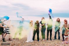 Smoke bombs, powder paint and BMX Alternative Brighton Wedding by Anna Pumer Photography www.annapumerphotography.com