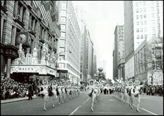 Of course, no Thanksgiving is complete without the parades. This NBC publicity shot is of the 1963 Macy's Thanksgiving Day Parade. Check out those Rockettes — pretty racy for 1963!