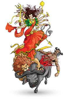 Illustration about Vector illustration of goddess Durga killing Mahishasura. Illustration of dussera, mahishasura, goddess - 26243146 Shiva Art, Shiva Shakti, Hindu Art, Durga Maa Paintings, Durga Painting, Chaitra Navratri, Navratri Images, Happy Navratri, Maa Kali Images