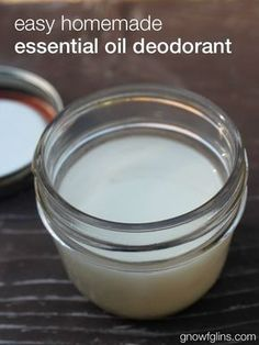 Easy Homemade Essential Oil Deodorant | I've tried so many deodorant alternatives I can't even count them all. Then I found this one. It meets all of my expectations -- it smells good, it works (even combating stress-sweat, intense exercise, and hot and humid summer days), it's economical, it doesn't stain my clothing, and I feel great about the ingredients. http://gnowfglins.com/2014/10/06/easy-homemade-essential-oil-deodorant/