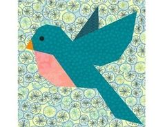 Bluebird of Happiness paper piecing quilt block pattern PDF. $2.95, via Etsy.