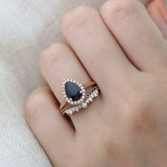 Pear Black Spinel Halo Diamond Engagement Ring in Pave Band from La More #weddingbands