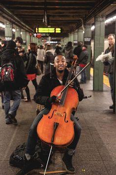 Street musician in the NYC Subway. New York Subway, Nyc Subway, Cello Music, My Music, Street Musician, S Bahn, I Love Ny, City That Never Sleeps, Urban Life