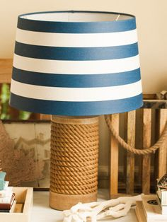 Add a little coastal to your home with a textured, nautical lamp.