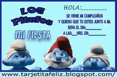 Tarjeta de Cumpleaños de Los Pitufos | Tarjetas de cumpleaños para imprimirTarjetas de Cumpleaños para Imprimir