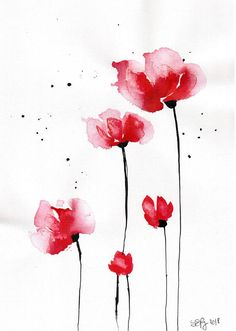 Items similar to Poppy painting - canvas- abstract watercolor flower art- on Etsy - Malerei // Malen // Kunst Watercolor Poppies, Abstract Watercolor, Abstract Canvas, Poppies Painting, Poppies Art, Simple Watercolor, Painting Abstract, Body Painting, Art Floral