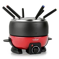 NutriChef Electric Fondue Maker-Electric Melting Pot Cooker Chocolate Maker , Black (PKFNMK23)